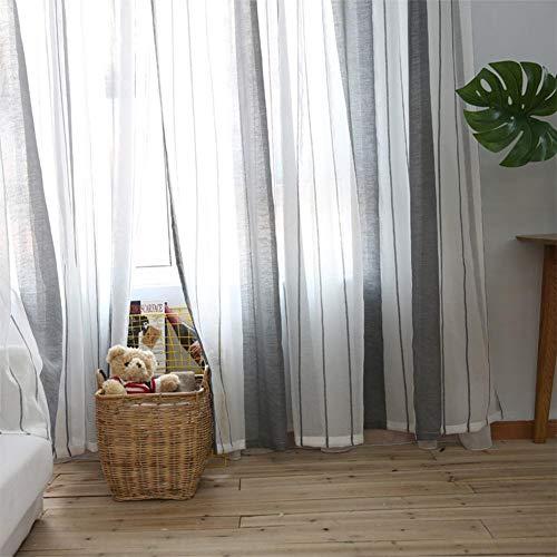 cosyhouse Streifenvorhänge Grau Weiß Vorhänge Gestreifte Fenster Voile Panels Hookless Textile Duschvorhang Wohnzimmer Schlafzimmer Arbeitszimmer Vorhang -