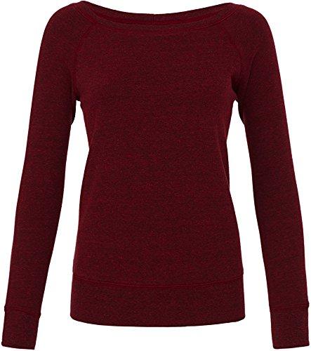 bella Mia Triblend Sponge Fleece Slouchy Wideneck Sweatshirt M,Red Heather