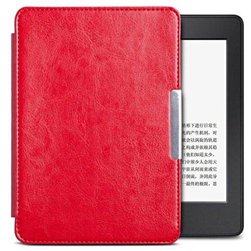 Kindle Paperwhite Leather Cover, Transer® Magnetic Coche Sleep PU cubierta de cuero para 2016 Kindle Paperwhite (7 ª procreación) 6 pulgadas + regalo injustificado (Rojo)