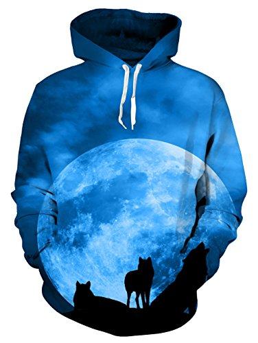 Idgreatim Herren Sternenlicht Druck Sport Pullover Hoodie Outdoor Casual Hoodie Sweatshirt XL