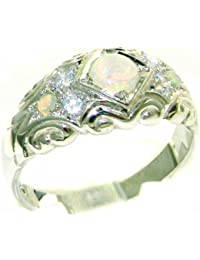 Solid 925 Sterling Silver Ladies Opal & Diamond Vintage Wedding Band Ring