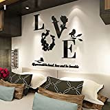 URNINAU 3D DIY Mirror Wall Stickers Love Flower Art Quote Decal Home Kitchen Bathroom Decor Black