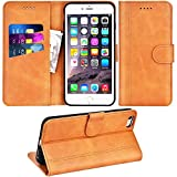 Adicase iPhone 6 Plus Hülle Leder Wallet Tasche Flip Case Handyhülle Schutzhülle für Apple iPhone 6 Plus / 6S Plus 5,5 Zoll (Braun)