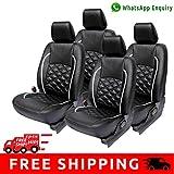 Autofact Brand (Economical Range) PU Leatherite Car Seat Covers for Tata Indigo ECS in Black and Silver Cross design