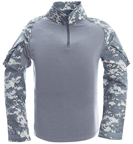 TACVASEN Winter Shirt Men Mountain Berg T-Shirt Herren Snow Schnee Hemd lange Ärmel Tee Camo Shirts Camouflage Shirt ACU (Ärmeln Poly-baumwolle-shirt)