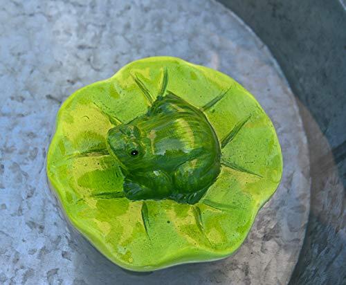 sch- hübscher Stabiler Schwimmfrosch auf Seerosenblatt für den Teich, grün- robuste Ausführung- wetterfest ()
