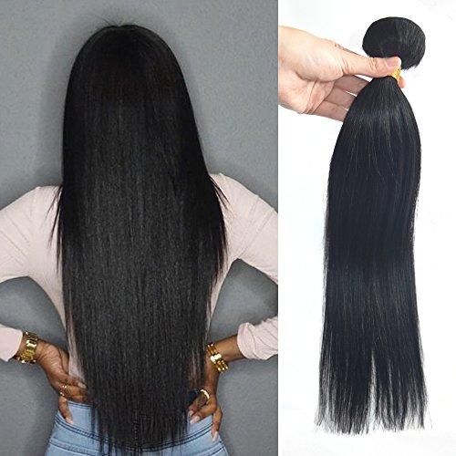 Greemeo Lisse Vierges Brésiliens Tissage de Cheveux Humains Noir de Jais Raides Jet Black #1 Bundle Brazilian Straight Virgin Human Hair Extension Weft 1 Pack 100 Gram (22 Pouces)