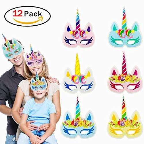 Ouken Arco Iris Unicorn Papel máscaras niños cumpleaños Unicornio favorece 12 PC