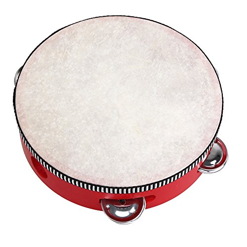 yibuy-rot-musical-lammfell-tamburin-musical-spielzeug-instrument-fur-kinder-7inch-rot