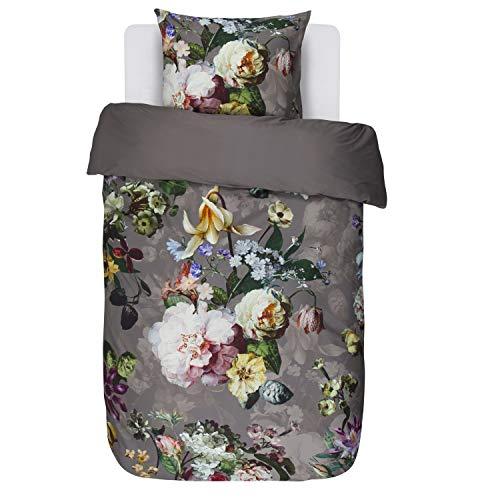 Essenza Bettwäsche Fleur Taupe Blumen Blüten Satin 135x200 cm + 80x80 cm