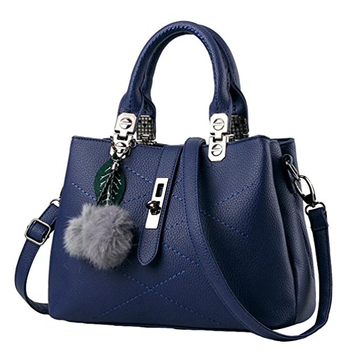 YAANCUN Donna Borsa PU Pelle Per Le Donna Moda Vintage Tote Bag Blu
