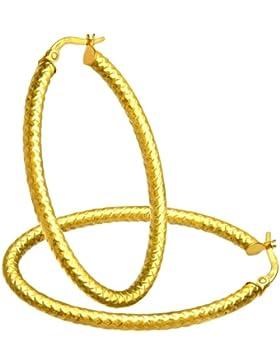 Citerna Damen-Creolen 9k Diamantschliff große ovale 375 Gelbgold