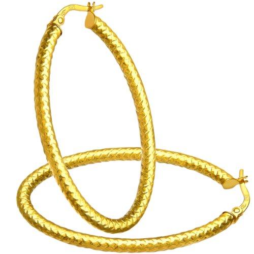 Citerna Damen-Ohrringe Creolen 9 Karat Diamantschliff große ovale 375 Gelbgold RIL1307Y