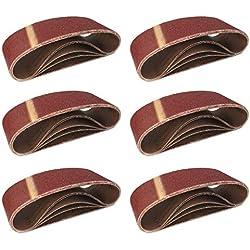 FD-Workstuff® Lot de 10 courroies abrasives 75 x 457 mm 2 bandes de chaque grain: 40/60/80/120/180 pour ponceuse à bande / courroies abrasives