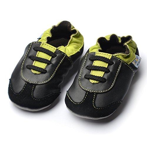 Jinwood designed by amsomo - Boys - Jungen - Hausschuhe - echt Leder Lederpuschen - Krabbelschuhe - soft sole / mini shoes div. Groeßen athletics green/black soft sole