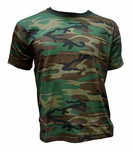 Herren T-Shirt Camouflage Outdoor Tarnmuster Rundhals Baumwolle woodland Army US (L) (Army T-shirt Baumwolle Tarn Woodland)
