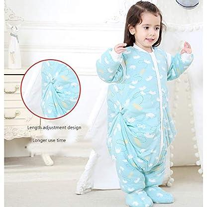 Saco de dormir con los pies, la pierna del bebé del saco de dormir, Grueso bebé anti-retroceso, del otoño y del invierno de los niños de una sola pieza pijamas con los zapatos, mangas desmontables