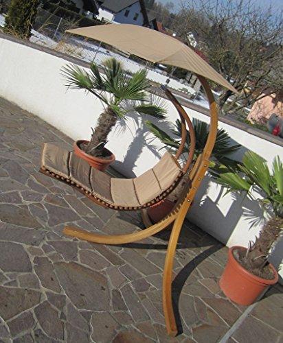 DESIGN Hängeliege NAVASSA mit Gestell aus Holz Lärche komplett mit Hängeliege und Dach von AS-S, Farbe:Braun - 5