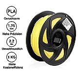 Tigtak 3D Drucker Gelb Filament PLA 1.75 mm 1KG geringer Geruch Dimensionsgenauigkeit +/- 0,02 mm für 3D Drucker & 3D Stifte