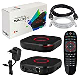 MAG 324 Kit IPTV originale INFOMIR e HB-DIGITAL TOP Box multimediale Ricevitore IPTV per Internet (supporto HEVC H.256) + Cavo HDMI + Cavo patch LAN