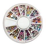 Rekkles Nail Art 3D Conseils Gems Cristal Noir Glitter Strass Bricolage Kit de décoration des Ongles avec la boîte