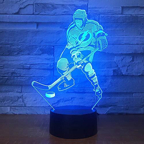3D eishockey - spieler Nachtlampe 7 Farben ändern Touch Control LED Schreibtisch Tisch Nachtlicht mit bunten USB Powered für Kinder Kinder Familie Ferienhaus Dekoration Valentinstag Geschenk