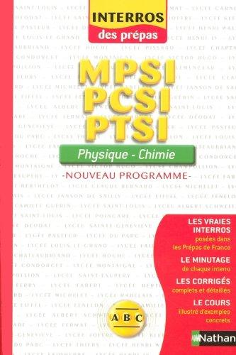 Physique-Chimie nouveau programme : MPSI-PCSI-PTSI