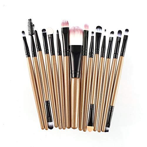 vcbbvghjghkhj-UK 15pcs / kit pinceaux de Maquillage Set cosmétique Maquillage Outil de beauté Brosse Cheveux synthétiques-café et Noir