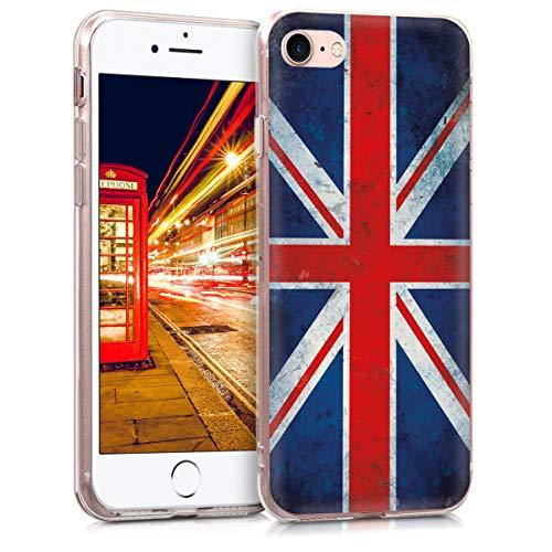 Preisvergleich Produktbild kwmobile Apple iPhone 7 / 8 Hülle - Handyhülle für Apple iPhone 7 / 8 - Handy Case in Retro Flagge Großbritannien Design Rot Weiß Blau