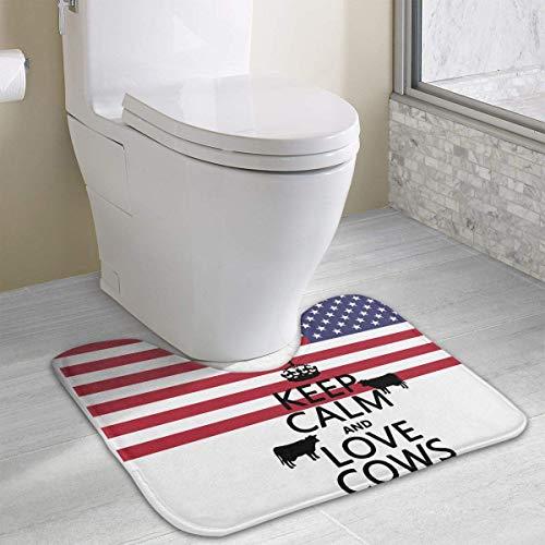 Hoklcvd Halten Sie Ruhe und Liebe Kühe U-förmige Toilette Boden Teppich Rutschfeste Toilette Teppiche Badematte Teppich