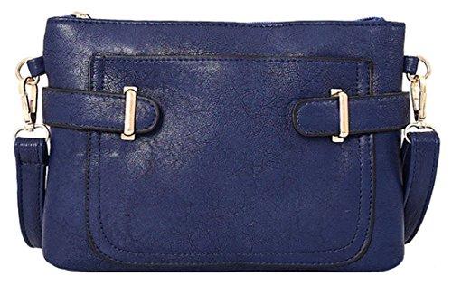 Kukubird Lisbeth In Ecopelle Con Tasca Frontale & Dettaglio Cinghia A Tracolla Sling Tracolla Messenger Handbag Blue