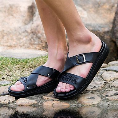 Uomini pantofole & flip-flops Estate Casual in pelle tacco piatto bianco grigio nero Black