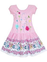 Mädchen Kleid Bestickte Blätter Blume O-ansatz Baumwolle Rosa