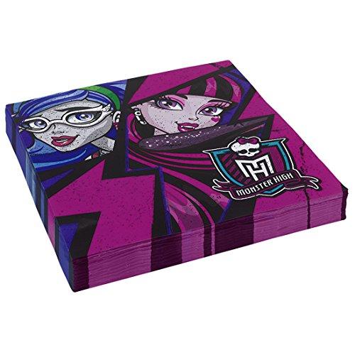 NET TOYS Serviettes Monster High 2 essuie-Mains en Papier 20 pcs . Sèche-Mains pour Anniversaire d'enfant Serviettes de décoration pour Bambin déco en Papier Petite Fille