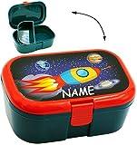 alles-meine.de GmbH Lunchbox / Brotdose -  Weltraum - Rakete - Raumschiff  - Incl. Name - mit Ex..