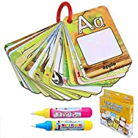 BBLIKE Water Colouring Doodle Board-Shape Number Color Theme 2 Magic Water Pens Drawing Toy for Toddlers(26 Cards (Letter)