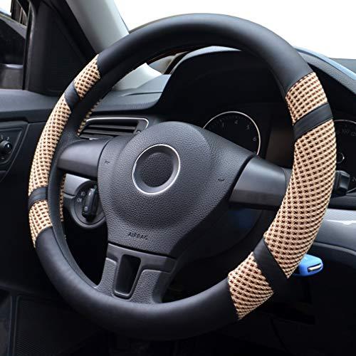 Pahajim Cubierta de volante de cuero de microfibra para automóvil Seda del Hielo Respirable Coche 38 cm,Universal,Antideslizante,Confortable(Beige)