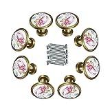 FBSHOP(TM) 8 Stück 32mm DIY Weinlese -Blumen-Pilz-förmige Bronze Antik Keramik-Türknauf Möbelknöpfe für Schublade, Schrank, Bin, Kommode, Schrank, etc. mit Schrauben
