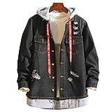UOMOGO Giacca in Jeans Uomo Inverno Parka Retro Caldo Capispalla Outwear Casual Manica Lunga Jacket Hooded Jacket Top Coat