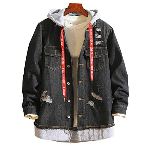UOMOGO Giacca Jeans Uomo Inverno Parka Retro Caldo Capispalla Outwear Casual Manica Lunga Jacket Hooded Jacket Top Coat