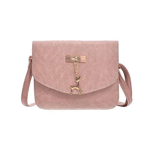 Damen Leder Umhängetasche Reh Anhänger Reißverschluss Citytasche Schultertasche Casual Crossbody Messenger Tasche (B Typ Rosa)
