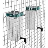 Bebedero para conejos, para colgar en la jaula, con tapa, 1 litro, blanco