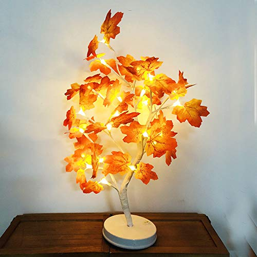 TianranRT Ahorn Blatt Topf Licht Blüte Schreibtisch Oberteil Bonsai Baum Licht Mit 24 LED Perlen