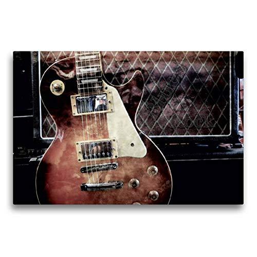 Calvendo Premium Textil-Leinwand 75 cm x 50 cm quer, Blues Rock   Wandbild, Bild auf Keilrahmen, Fertigbild auf echter Leinwand, Leinwanddruck: Les Paul Style vor Gitarrencombo Kunst Kunst