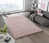 Mint Rugs 102602_200x290 Design Verlour Deep-Pile Teppich Luna, Kunstfaser, rosa/Creme, 290 x 200 x 3.5 cm