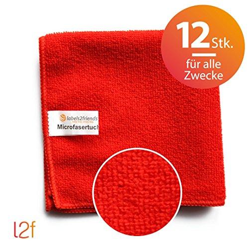 Microfaser Tücher clean2magic Multi (12-teilig) | 12 Mikrofasertücher (rot) für alle Zwecke | 30 x 30 cm