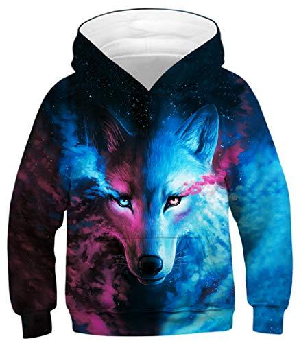 Ocean Plus Jungen Kapuzenpullover Digitaldruck Hoodie Langarmshirt Pullover Sweatshirts mit Kapuze (L (Körpergröße: 145-155cm), Bunte Wolf)