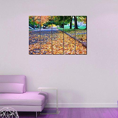 999store Digital bedruckt laminiert Holz gerahmt mehreren Rahmen bedruckt Yellow Leaves On The Road indischen Kunst Platten wie Malerei - Malerei-glas-platten