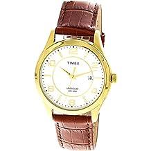02064f41db0c Timex Indiglo del hombre T2P449 oro piel cuarzo moda reloj