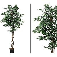 174 Blätter Kunst Pflanze 180cm weiß-gelb-grün Künstlicher Gummibaum DEVI